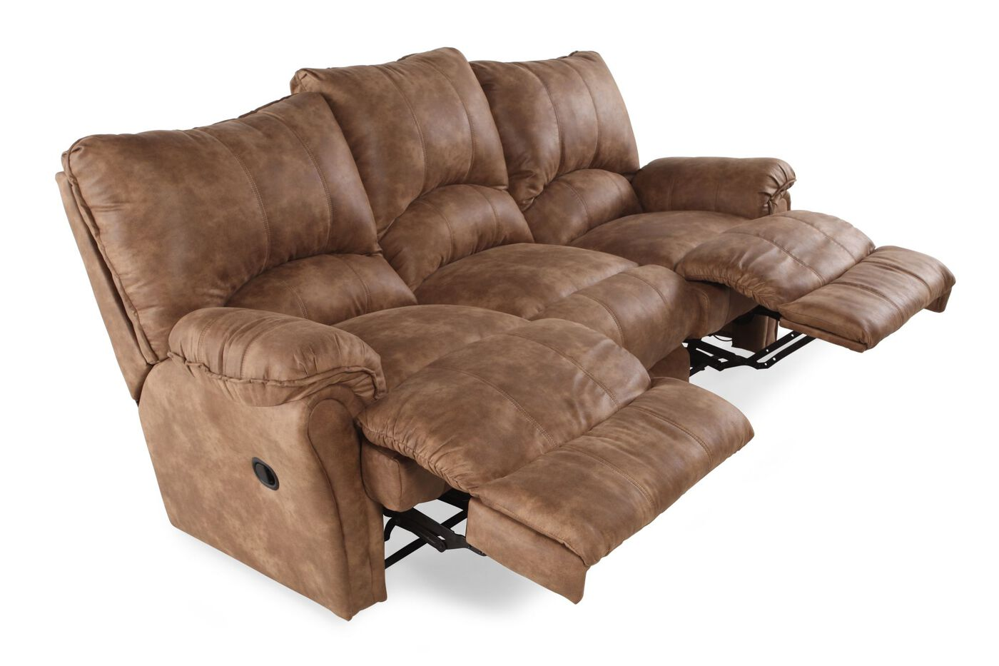 Microfiber Reclining Wall Saver Sofa In Caramel Mathis Brothers Furniture