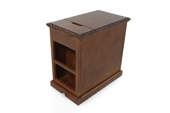 Rectangular Flip-Top Contemporary Chairside Table in Rich Brown