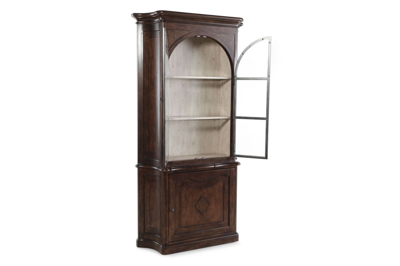 Traditional Rectangular Curio China Cabinet In Dark Brown