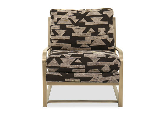 "Geometric-Printed Modern 29"" Accent Chair in Brown"