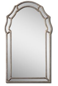 35'' Arched Accent Mirror in Antiqued Silver Leaf