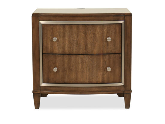 "29.5"" Traditional Two-Drawer Nightstand in Dark Brown"