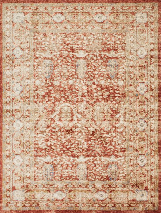 """Traditional 1'-6""""x1'-6"""" Square Rug in Terracotta"""