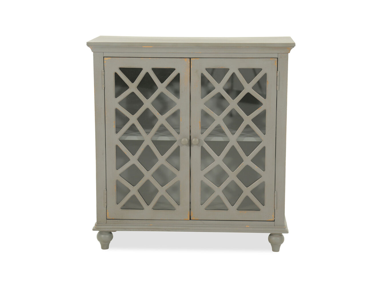 Lattice Doors Cottage Small Accent Cabinet In Gray Mathis - Small grey cupboard