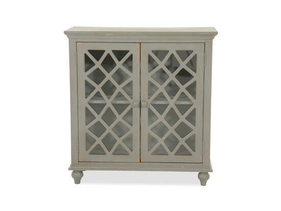 38'' Lattice Doors Cottage Small Accent Cabinet in Gray