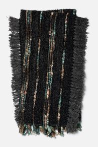 Hand Woven Contemporary Fringed Throw in Charcoal