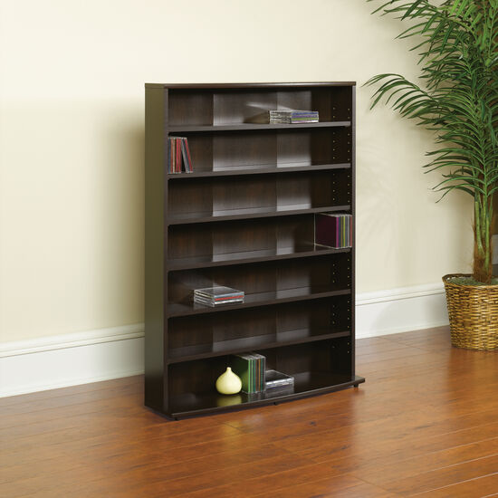 Casual Adjustable Shelf Multimedia Storage Tower in Cinnamon Cherry