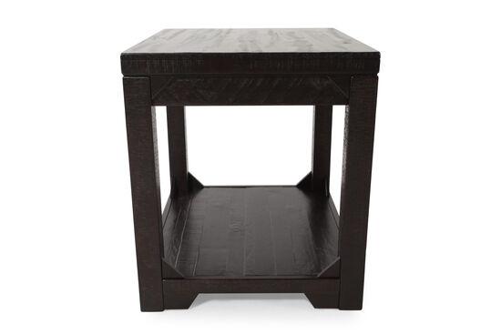 Solid Pine Distressed End Table in Dark Rum