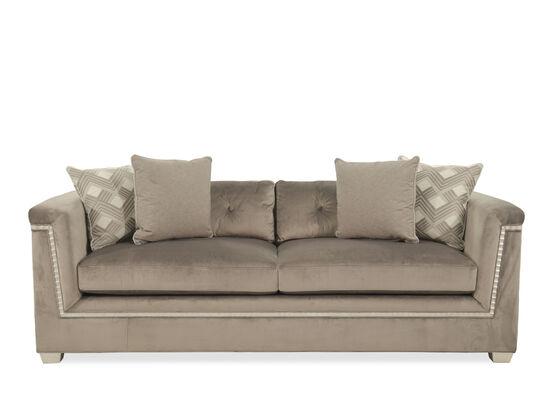 """Glamorous Velvet 88.5"""" Shelter Sofa in Brown"""