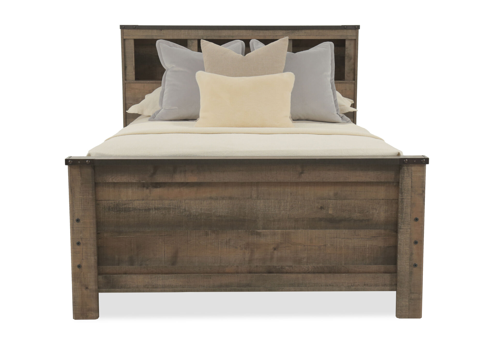 Rustic Farmhouse Planked Youth Bookcase Bed with Storage in Brown ...