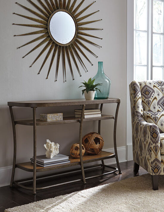 Open Shelves Casual Sofa Table in Light Brown