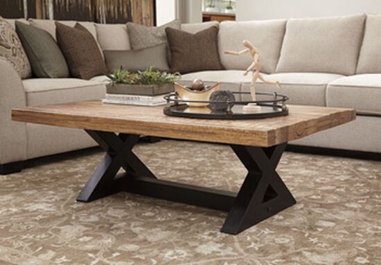 X-Brace Rectangular Casual Cocktail Table in Brown