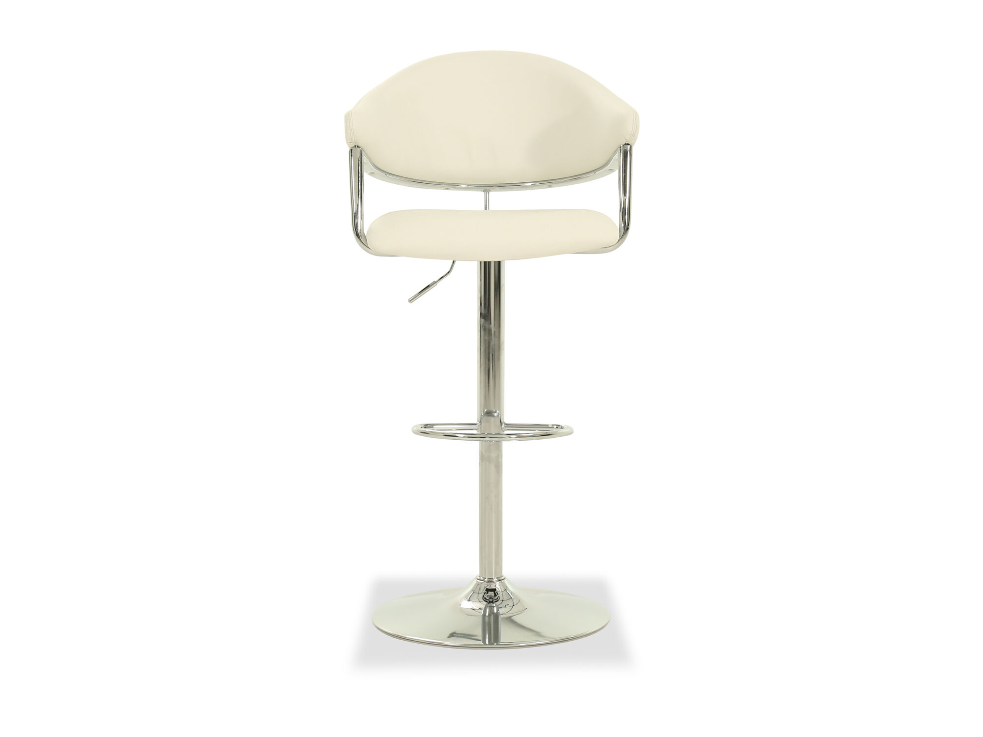 Leather Adjustable Bar Stool In White Leather Adjustable Bar Stool In White