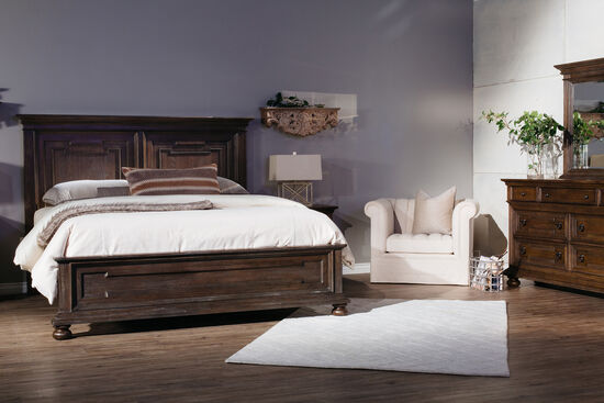 "62"" Distressed Rasied Panel Bed in Chestnut"