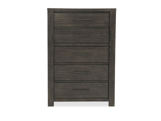 "58"" Weathered Five-Drawer Contemporary Chest in Dark Gray"