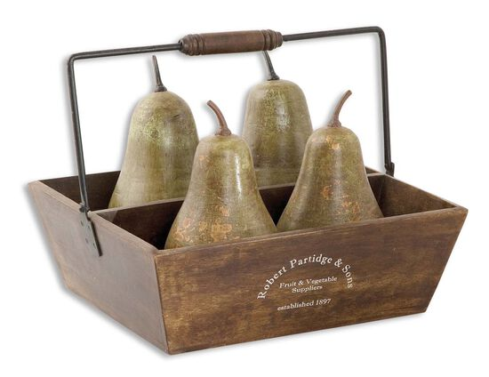 Five-Piece Decorative Pears and Basket in Antique Green