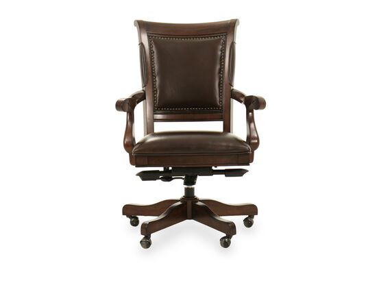 Five-Leg Leather Arm Chair in Brown