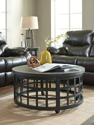 Round Casual Cocktail Table in Black