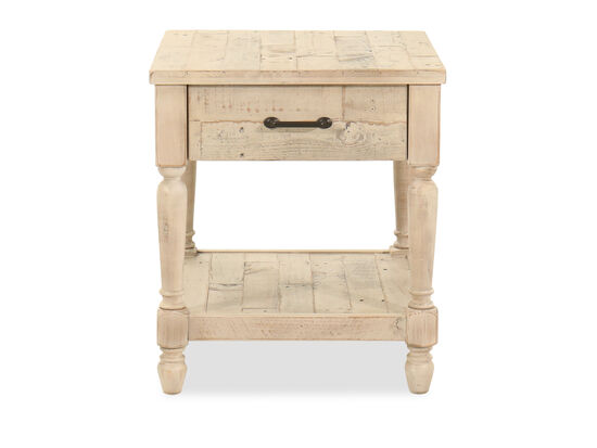 Rectangular End Table in White