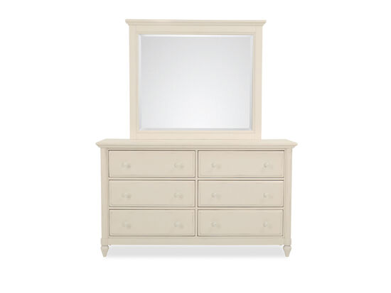 Two-Piece Six-Drawer Dresser and Mirror in Chalk