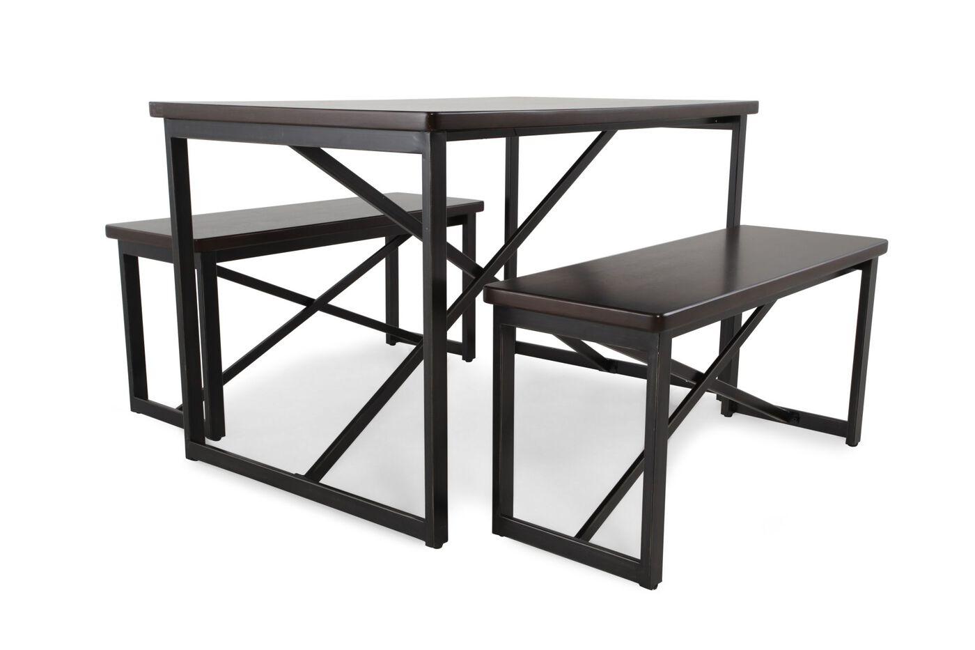 Three piece contemporary dining set in dark bronze for Dining room 3 piece set