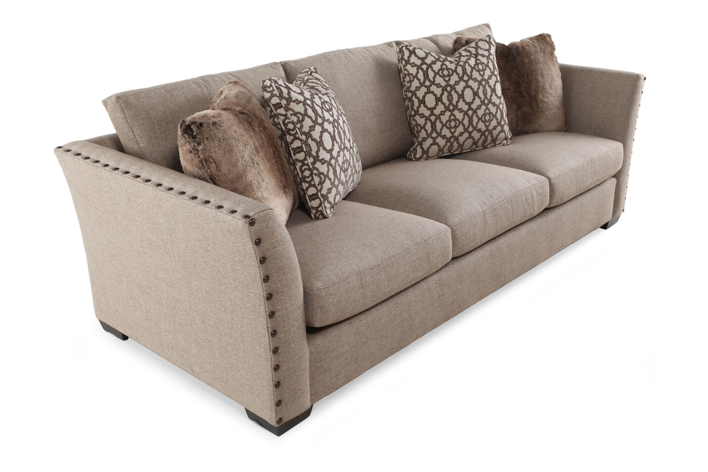 contemporary nailhead accented 94 5 sofa in dove gray mathis brothers furniture. Black Bedroom Furniture Sets. Home Design Ideas