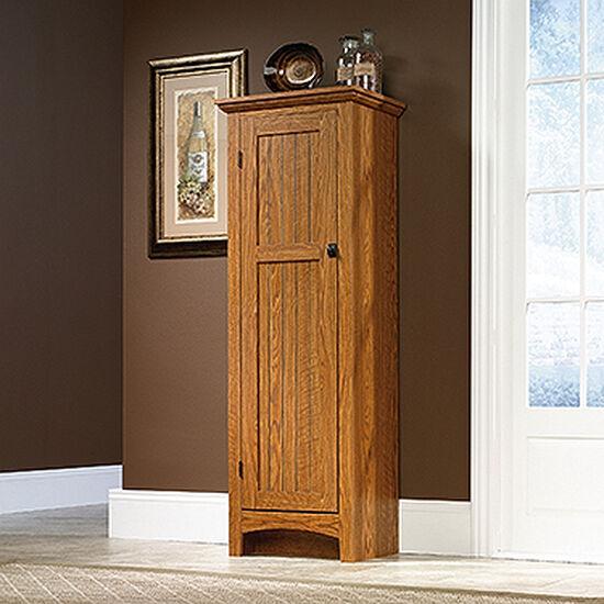 One-Door Transitional Pantry in Carolina Oak