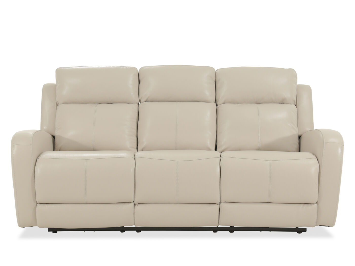 Leather 81 Power Reclining Sofa In Cream Mathis Brothers Furniture ~ Cream Leather Reclining Sofa