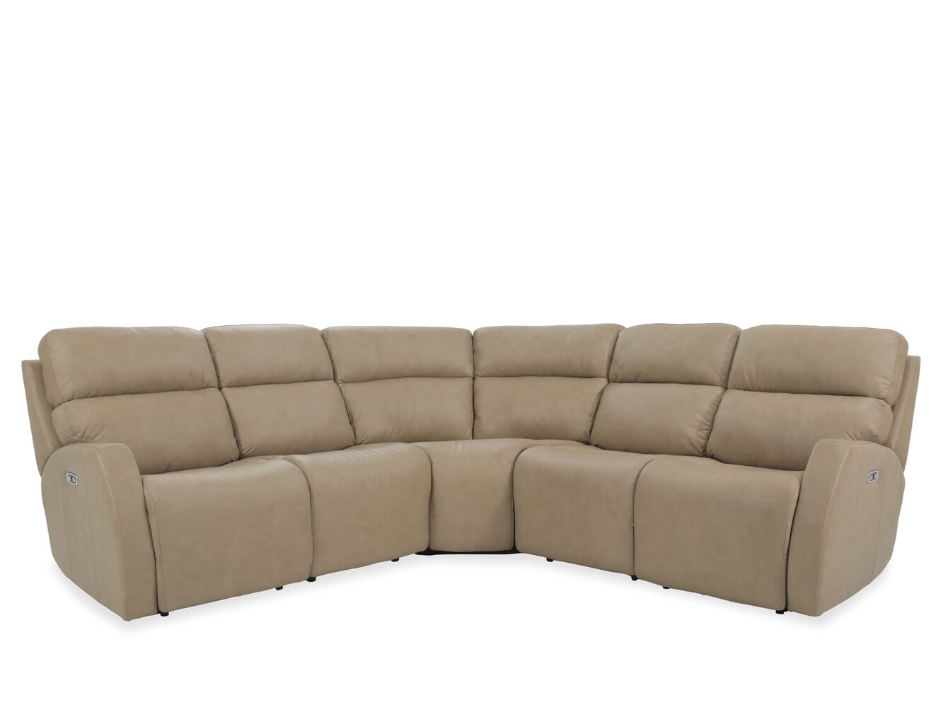 Three piece leather 107quot power reclining sectional in for 3 piece brown leather sectional sofa
