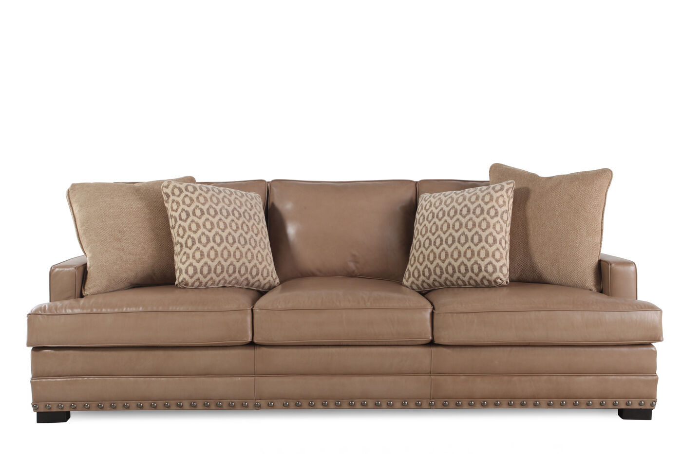 Nailhead Accented Leather 94 Sofa In Saddle Brown Mathis Brothers Furniture