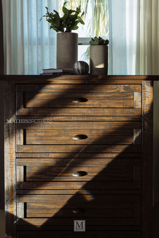 "52"" Solid Pine Chest in Weathered Golden-Brown"