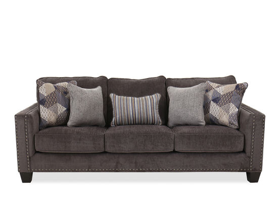 "Contemporary 91"" Nailhead-Accented Sofa in Smoke"