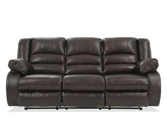 """86"""" Leather Reclining Sofa in Brown"""