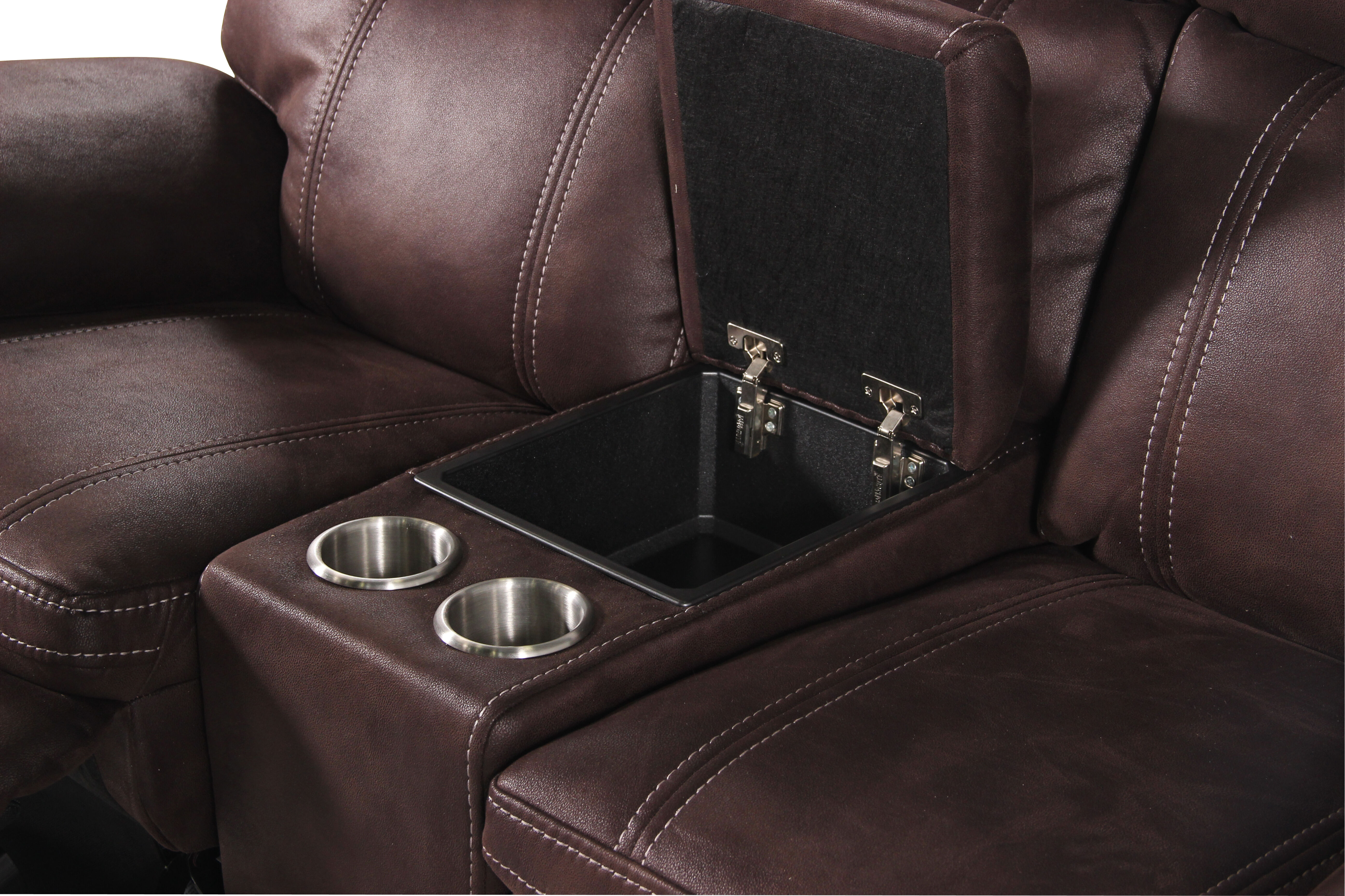 Power Reclining Microfiber 77u0026quot; Loveseat With Console In Dark Brown