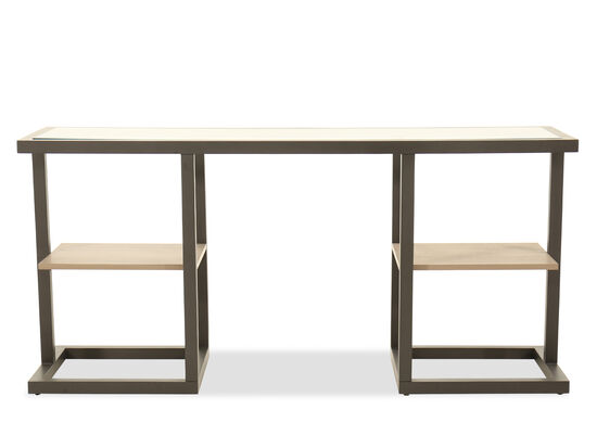Square Base Contemporary Console Table in Brown