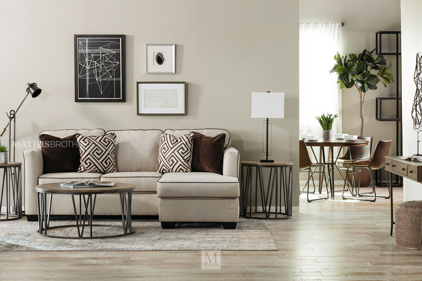 Contemporary 92 sofa chaise in beige mathis brothers for Ashley beige sofa chaise