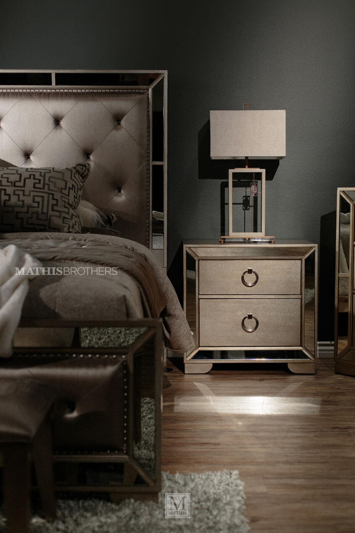 Four Piece Contemporary Bedroom Set In Bronze