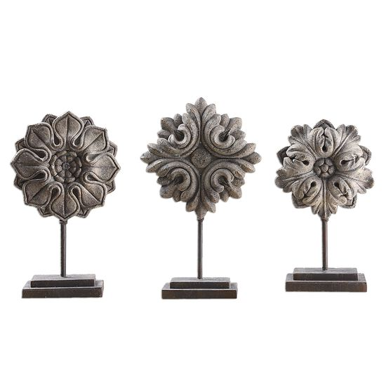 Three-Piece Floral Sculptures in Aged Ivory
