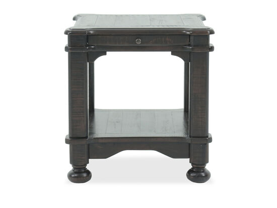 Distressed Solid Pine End Table in Dark Brown