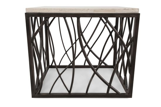 Stone-Top Square Transitional End Tablein Dark Bronze