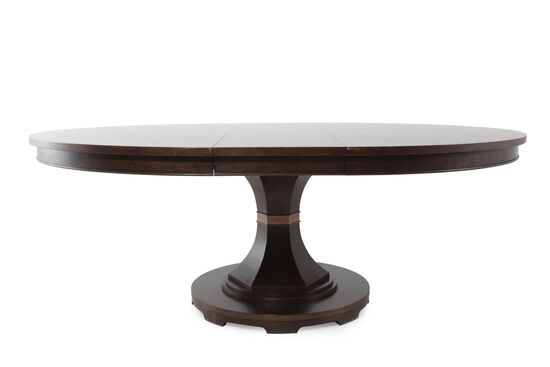 "64""-80"" Round Contemporary Dining Table in Dark Brown"