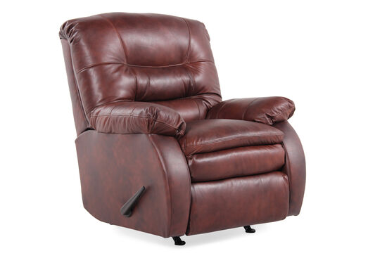 "Leather 37"" Rocking Recliner in Saddle Brown"