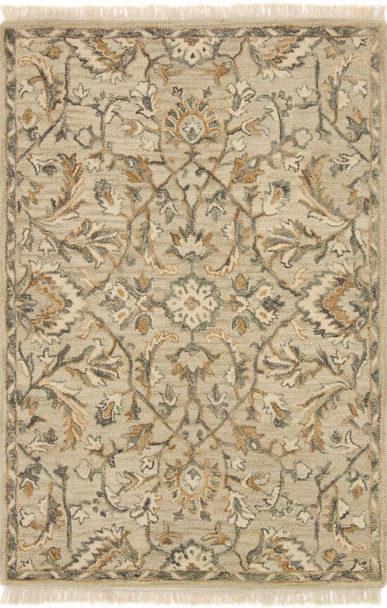 """Traditional 1'-6""""x1'-6"""" Square Rug in Neutral"""