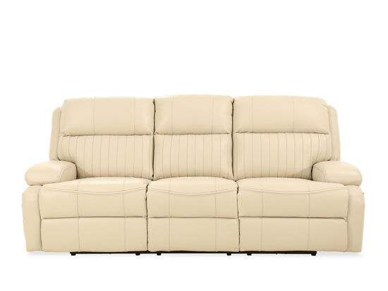 """90"""" Channel Pleated Leather Power Reclining Sofa in Ivory"""