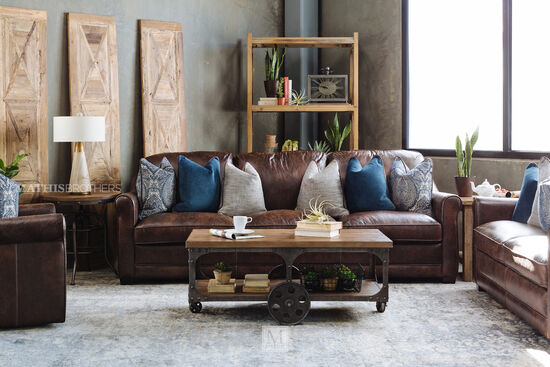 "Leather Casual 101"" Sofa in Coffee"
