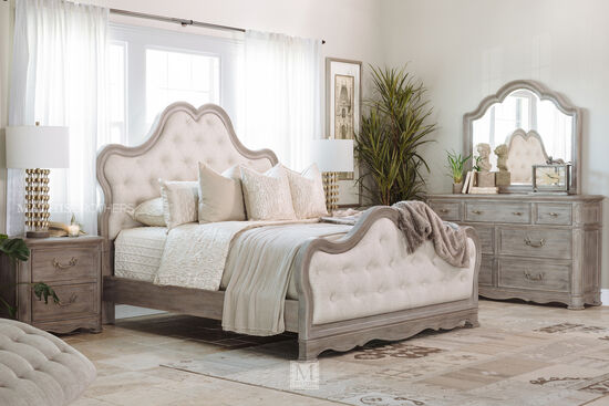 Contemporary Button Tufted Curved Panel Bed in Gray