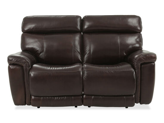 """Power Reclining Casual Leather 68"""" Loveseat in Brown"""