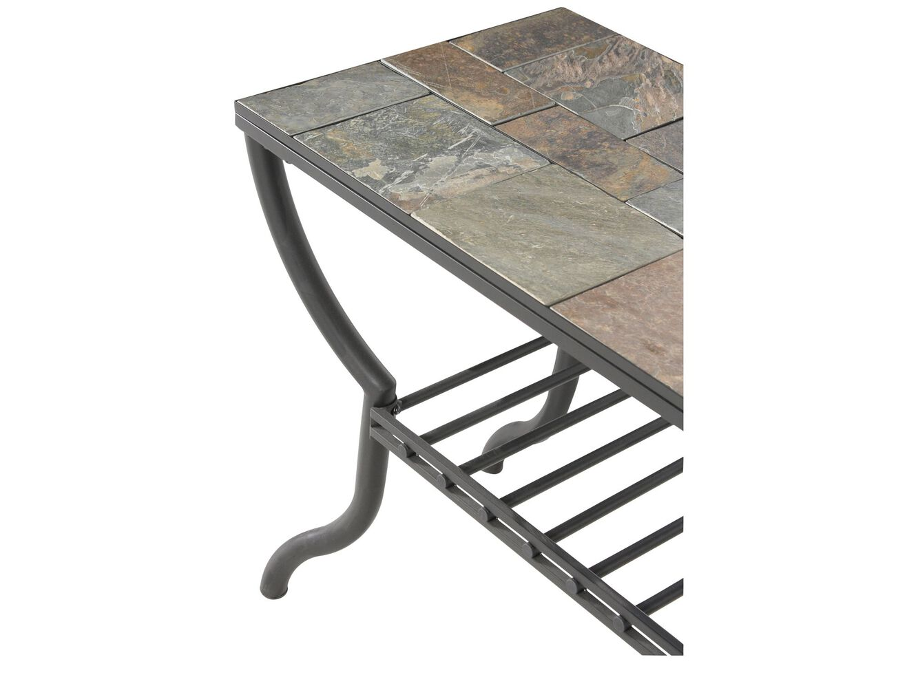 Grilled shelf contemporary sofa table in gun metal mathis grilled shelf contemporary sofa table geotapseo Gallery