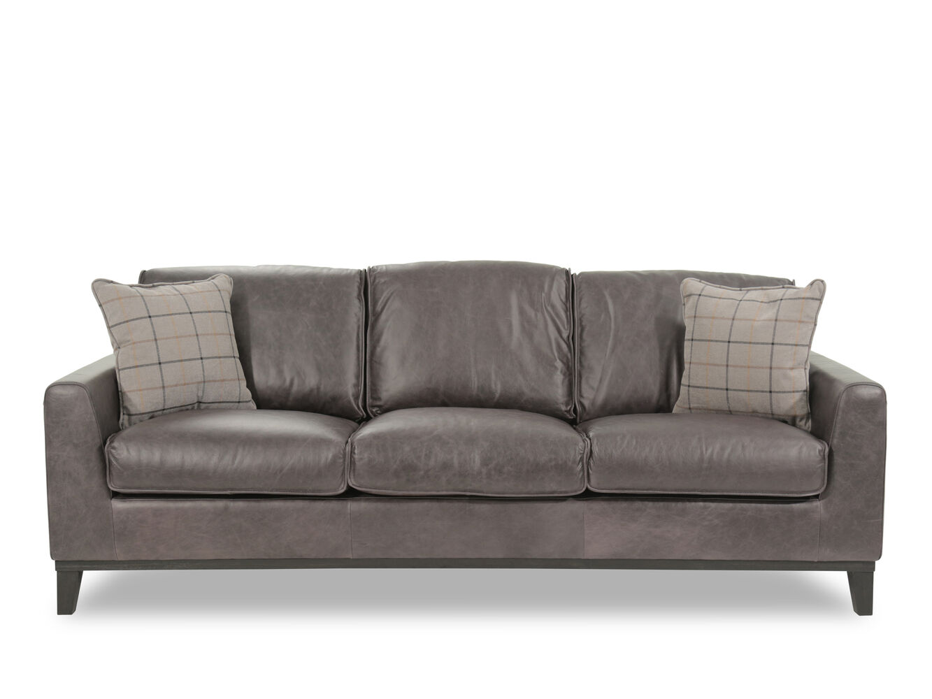 Casual leather sofa in gray mathis brothers furniture for Casual couch