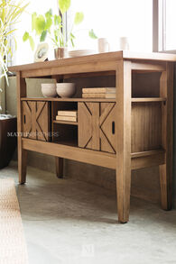 "Crisscross Paneled 52"" Sideboard in Brown"
